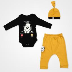 Miniworld Puppy Mobile Badili Bebek Takımı 3 Parça - Hardal Bebek Giyim
