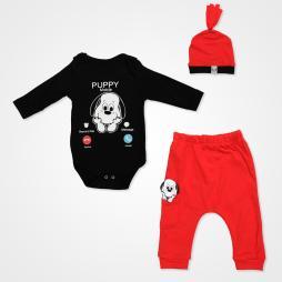 Miniworld Puppy Mobile Badili Bebek Takımı 3 Parça - Kırmızı Bebek Giyim