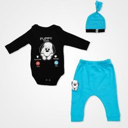 Miniworld Puppy Mobile Badili Bebek Takımı 3 Parça - Turkuaz Bebek Giyim