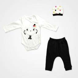 Miniworld Sevimli Canavar Badili Bebek Takımı 3 Parça - Ekru Bebek Giyim