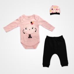 Miniworld Sevimli Canavar Badili Bebek Takımı 3 Parça - Toz Pembe Bebek Giyim