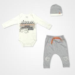 Miniworld Sosyal Mesafe Badili Bebek Takımı 3 Parça - Gri