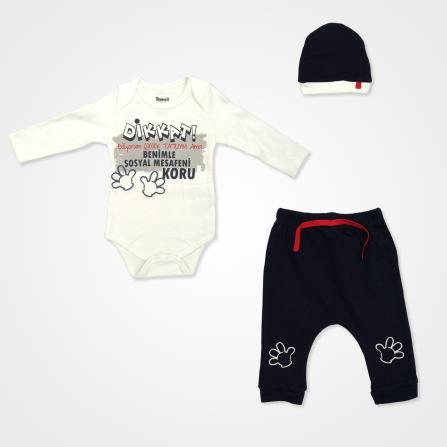 Miniworld Sosyal Mesafe Badili Bebek Takımı 3 Parça - Lacivert Bebek Giyim