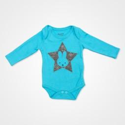 Miniworld Yıldızlı Tavşan Badili Bebek Takımı 3 Parça - Mavi Bebek Giyim