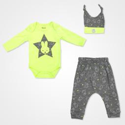 Miniworld Yıldızlı Tavşan Badili Bebek Takımı 3 Parça - Yeşil Bebek Giyim