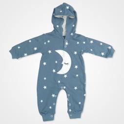 By Murat Baby Ayyıldız Kapşonlu Bebek Tulumu - Mavi Bebek Giyim