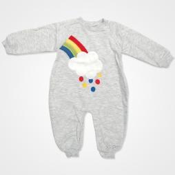 By Murat Baby Gökkuşağı Bulutlu Bebek Tulumu - Gri Bebek Giyim