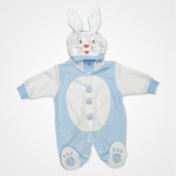 Hoppidik Kadife Tavşan Kostüm Bebek Tulumu - Açık Mavi