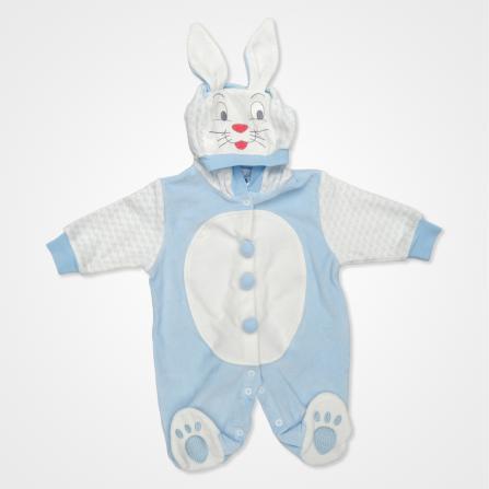 Hoppidik Kadife Tavşan Kostüm Bebek Tulumu - Açık Mavi Bebek Giyim
