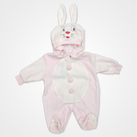 Hoppidik Kadife Tavşan Kostüm Bebek Tulumu - Pembe Bebek Giyim