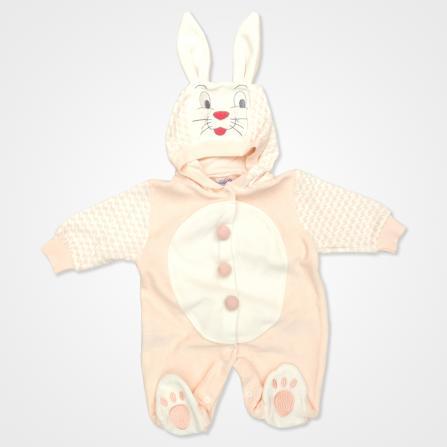 Hoppidik Kadife Tavşan Kostüm Bebek Tulumu - Yavruağzı Rengi Bebek Giyim