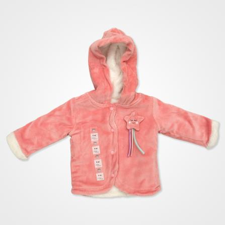 Bebemania Kadife Welsoft Yıldızlı Kapşonlu Bebek Hırkası - Mercan Rengi Bebek Giyim