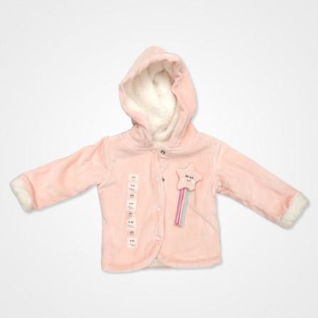 Bebemania Kadife Welsoft Yıldızlı Kapşonlu Bebek Hırkası - Pudra Rengi Bebek Giyim