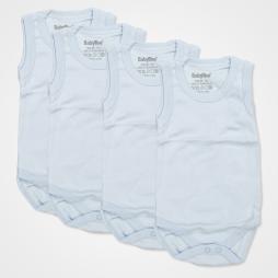 Baby Too Düz Çıtçıtlı Bebek Zıbın Seti 4'lü - Açık Mavi Bebek Giyim