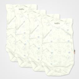 Baby Too Baskılı Çıtçıtlı Bebek Zıbın Seti 4'lü - Beyaz Üzerine Mavi Ayıcık  Bebek Giyim