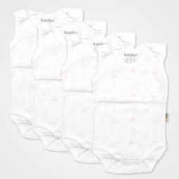 Baby Too Baskılı Çıtçıtlı Bebek Zıbın Seti 4'lü - Beyaz Üzerine Somon Ayıcık Bebek Giyim