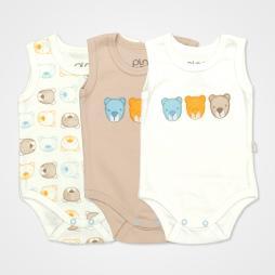 Pino Baby Ayıcık Nakışlı Çıtçıtlı Bebek Zıbın Seti 3'lü - Ayıcık Baskılı Bebek Giyim
