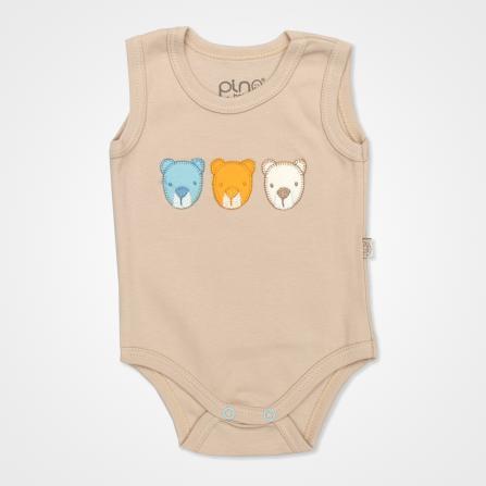 Pino Baby Ayıcık Nakışlı Çıtçıtlı Bebek Zıbın Seti 3'lü - Ayıcık Baskılı