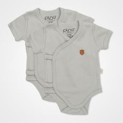 Pino Baby Kısa Kollu Çıtçıtlı Body Bebek Zıbın Seti 2'li - Gri