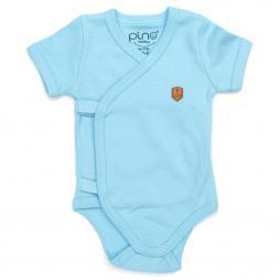 Pino Baby Kısa Kollu Çıtçıtlı Body Bebek Zıbın Seti 2'li - Açık Mavi Bebek Giyim