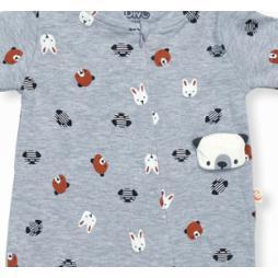 Divo Ayıcık Baskılı Bebek Tulumu Tek Parça - Gri Bebek Giyim
