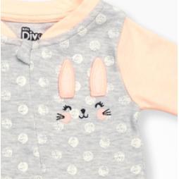 Divo Tavşanlı Bebek Tulumu Tek Parça  - Yavruağzı Bebek Giyim