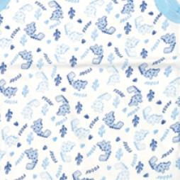 Minisoft Zürafa Baskılı Çıtçıtlı Bebek Zıbın Seti 3'lü - Mavi