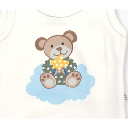 Pino Baby Bulutlu Panda 3'lü - Açık Mavi Bebek Giyim