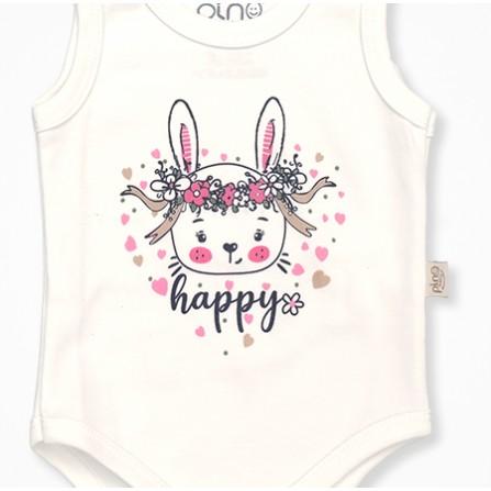 Pino Baby  Tavşan Desenli 3'lü Bebek Tulumu - Krem Bebek Takımları